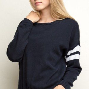 Brandy Melville Navy & White Stripe Knit Sweater